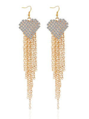 Rhinestone Heart Tassel Chains Earrings - Golden