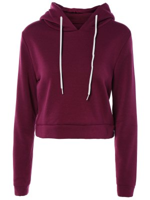 Cropped Pure Color Long Sleeve Hoodie - Purple