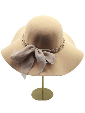 Keep Warm Wool Bowknot Wide Brim Fedora Hat - Khaki