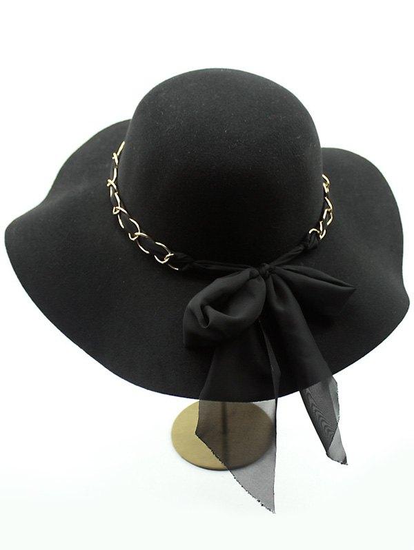Bowknot Wide Brim Fedora Hat