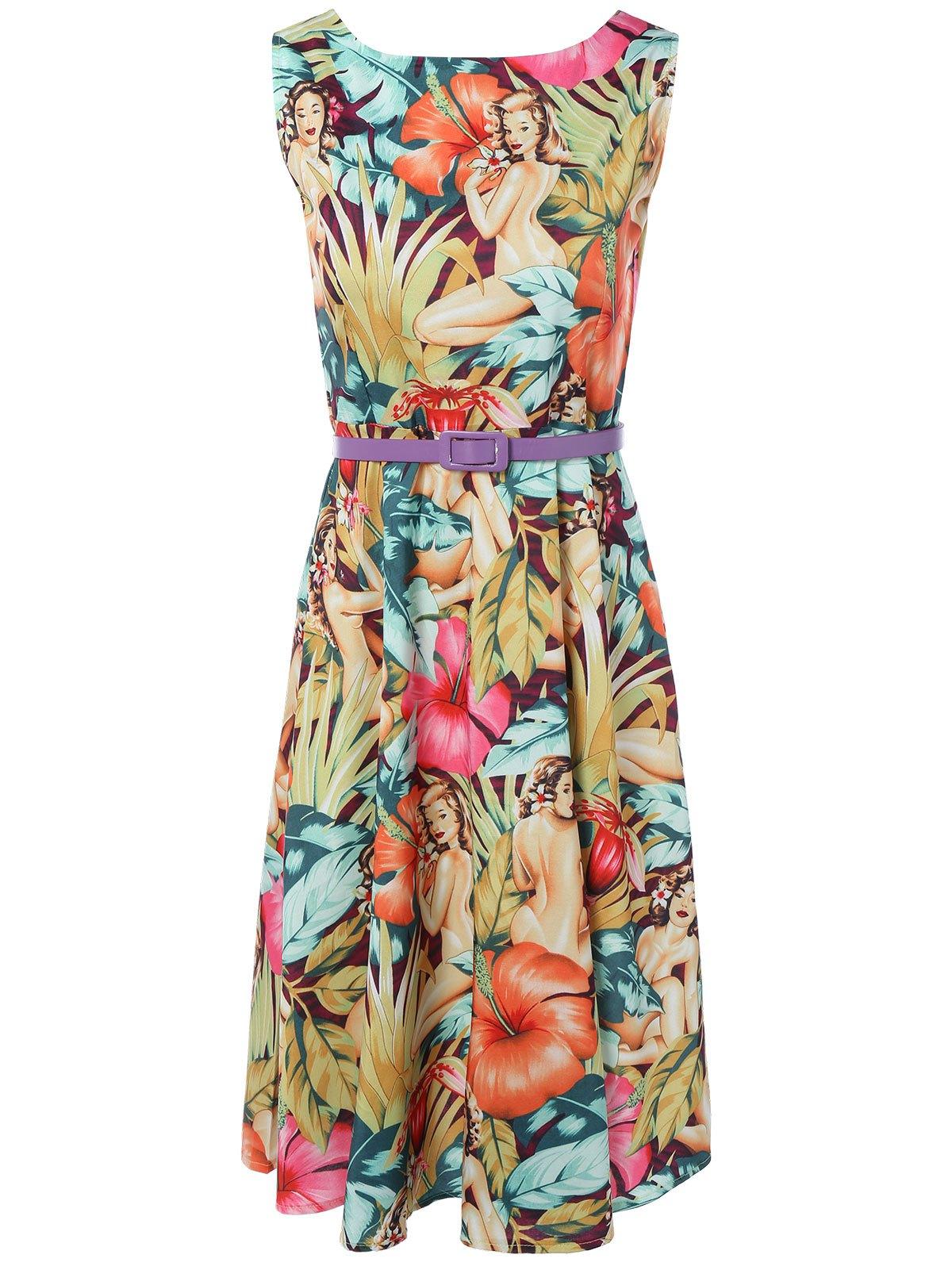 Vintage Round Neck Printed Dress