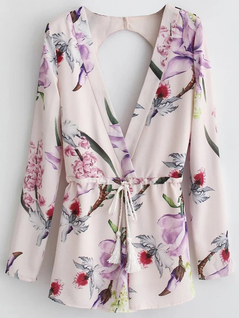 Floral Print Long Sleeve Plunge Romper