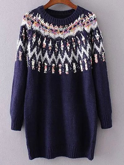 Jacquard Knit Long Sleeve Sweater