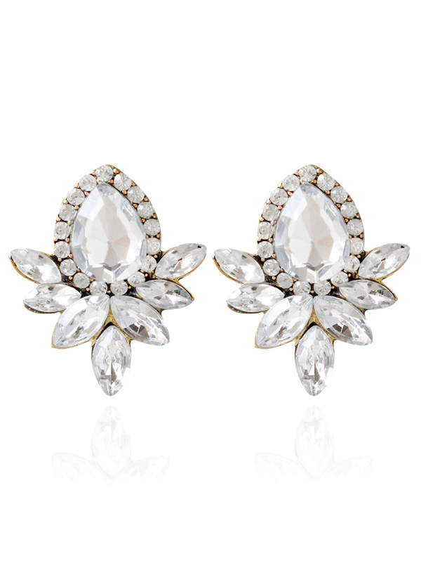 Artificial Crystal Rhinestone Water Drop Earrings
