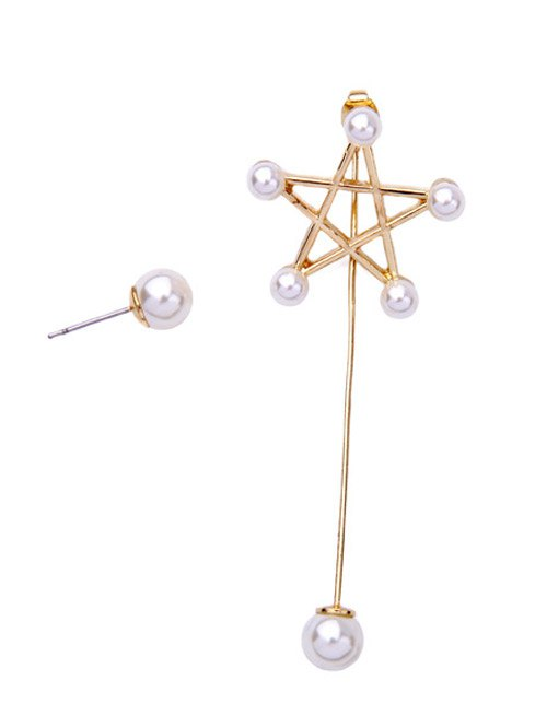 Faux Pearl Pentagram Earrings