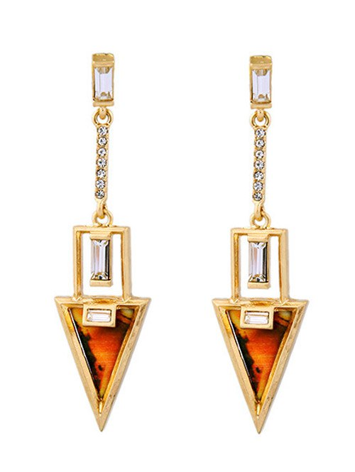Rhinestone Triangle Drop Earrings