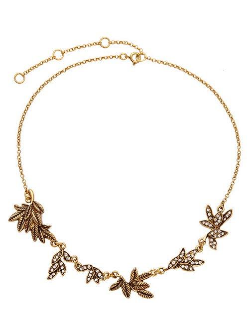 Rhinestone Branch Leaf NecklaceAccessories<br><br><br>Color: GOLDEN