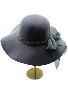 Bowknot Floppy Wool Fedora Hat - Deep Gray