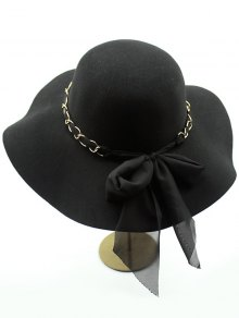 Bowknot Floppy Wool Fedora Hat - Black