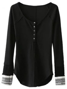 Contrasting Cuffs Long Sleeve Top