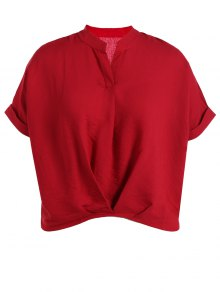 V Neck Short Sleeve Plus Size Blouse - Red M