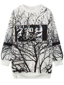 Buy Tree Branch Print Pullover Sweatshirt - WHITE ONE SIZE