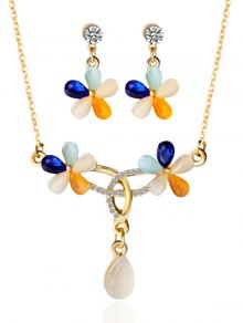 Rhinestone Faux Opal Floral Jewelry Set - Golden
