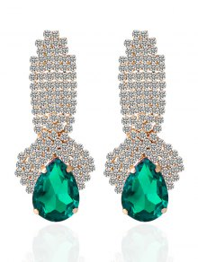 Rhinestoned Faux Crystal Drop Earrings - Green