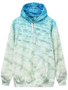 Wave Pattern Front Pocket Outerwear Hoodie