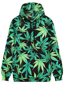 Leaf Print Front Pocket Outerwear Hoodie - Black And Green M