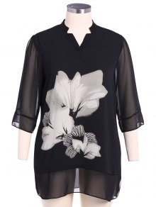 Stand Neck 3/4 Sleeve Floral Dress - White And Black 2xl