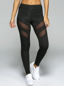 Collants De Sport à Parcelle Transparente - Noir