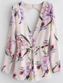 Long Sleeve Floral Plunge Romper