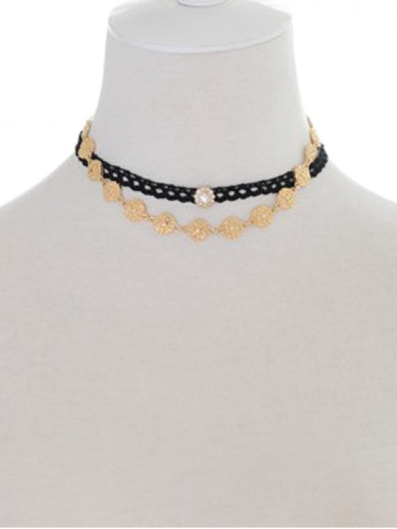 womens Rhinestone Engraved Floral Chokers - BLACK AND GOLDEN