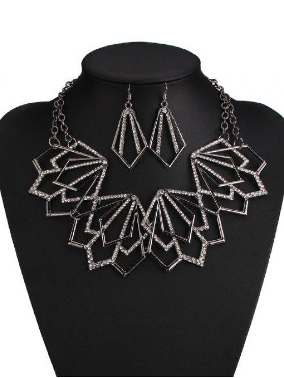 Alliage strass collier et boucles d 39 oreilles g om triques noir colliers zaful for Bureaux adolescente noir et strass