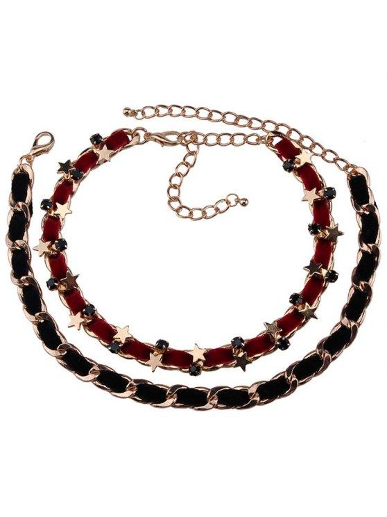 unique Alloy Faux Leather Velvet Pentagram Necklaces - RED WITH BLACK