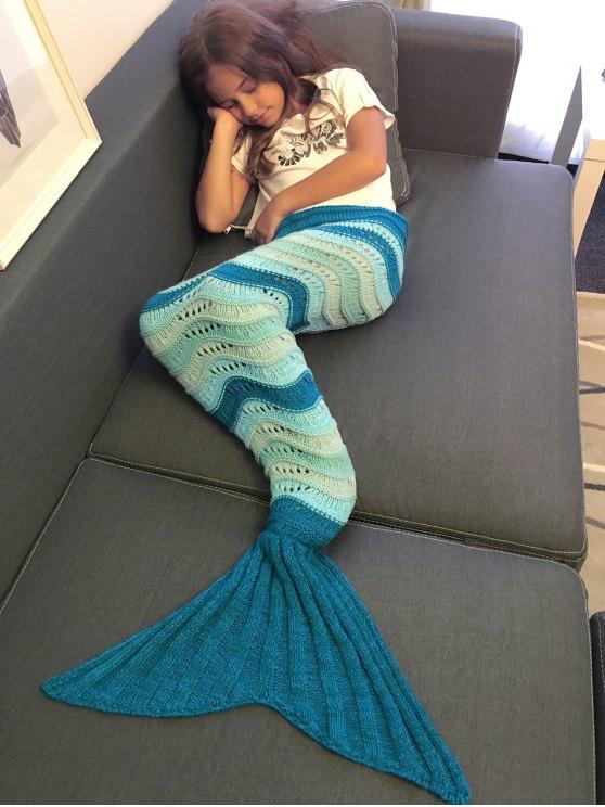 Knitted Openwork Mermaid Blanket -   Mobile