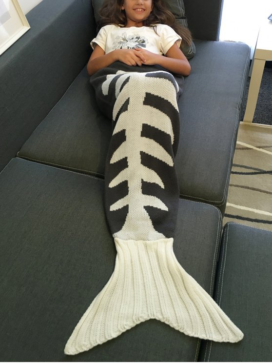 Fish Bone Knitted Mermaid Tail Blanket - GREY AND WHITE L Mobile