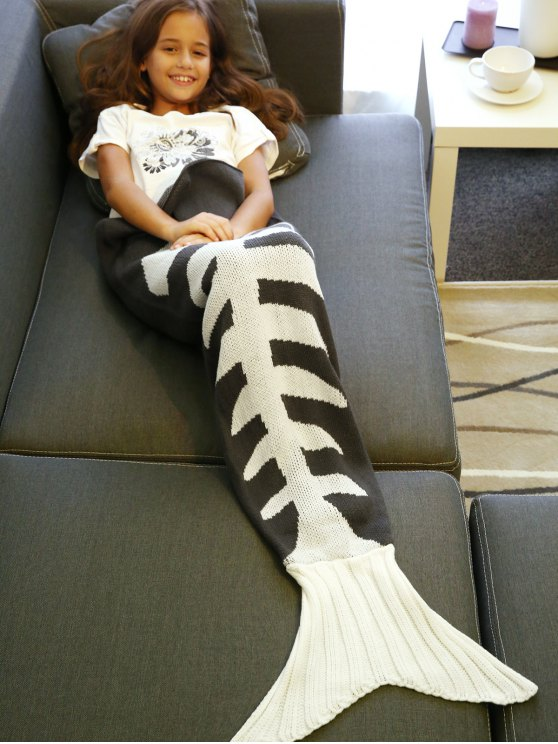 Fish Bone tricotée Mermaid Tail Blanket - Gris et Blanc L