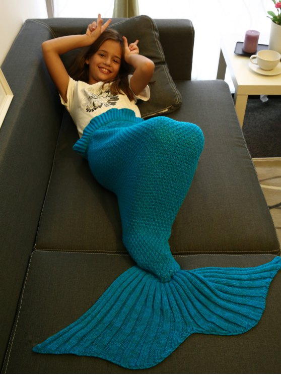 Flounced Knitted Mermaid Tail Blanket - BLUE  Mobile