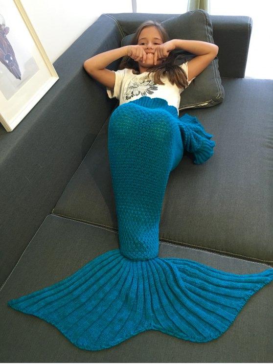women Flounced Knitted Mermaid Tail Blanket - BLUE