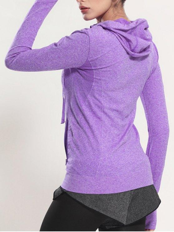 Zip Through Sports Hoodie - PURPLE L Mobile