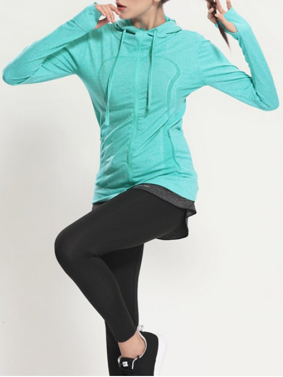 Zip Through Sports Hoodie - MINT GREEN L Mobile