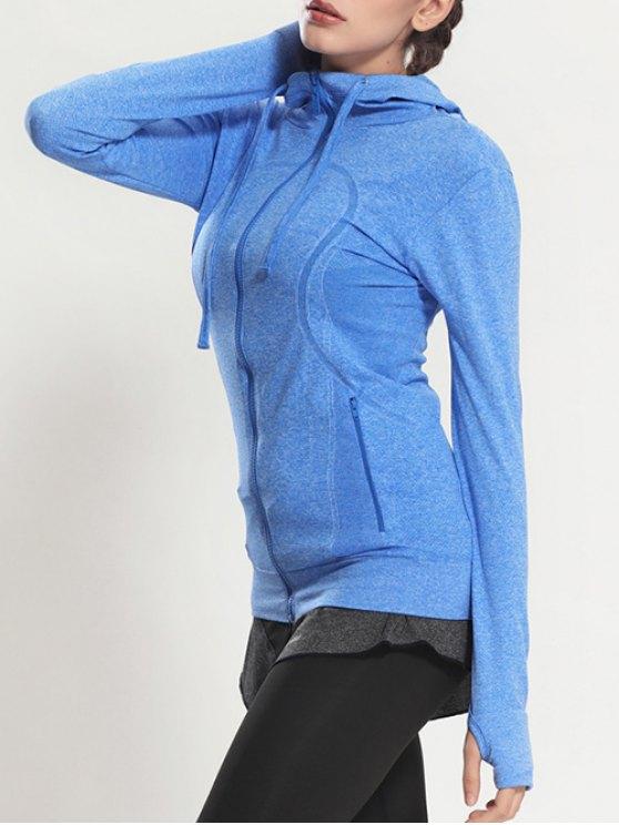 Zip Through Sports Hoodie - BLUE S Mobile