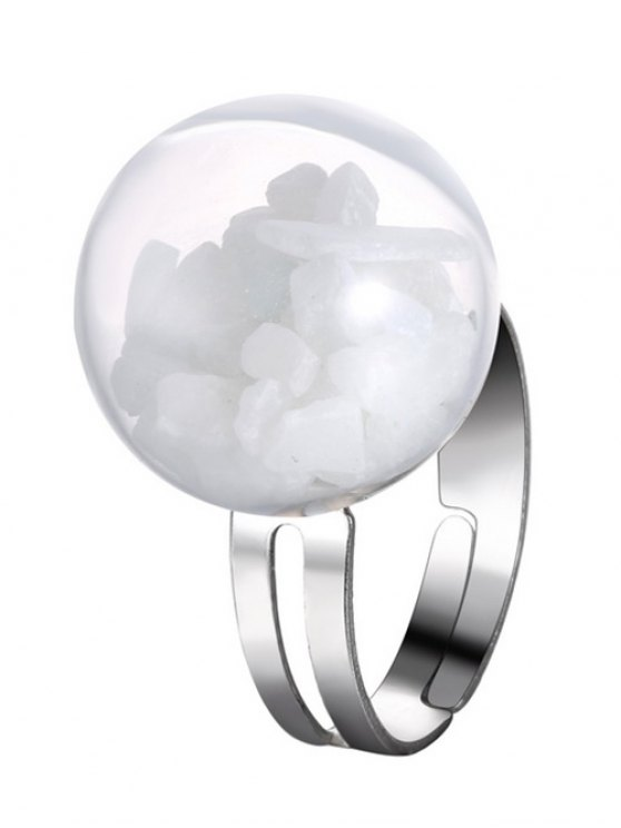 women's Glass Stone Ball Cuff Ring - WHITE ONE-SIZE