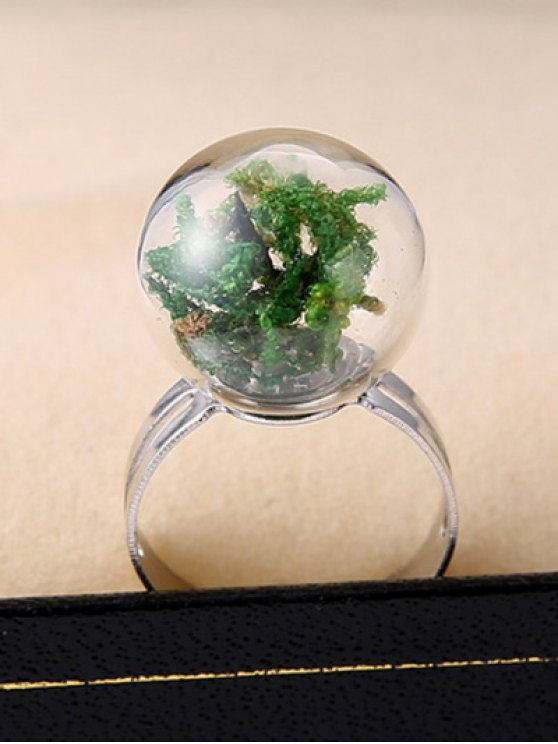 Dry Plant Glass Ball Cuff Ring - GREEN ONE-SIZE Mobile