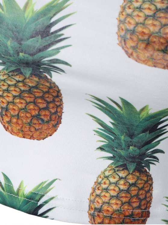 Pineapple Print Cropped Tank Top - WHITE ONE SIZE Mobile