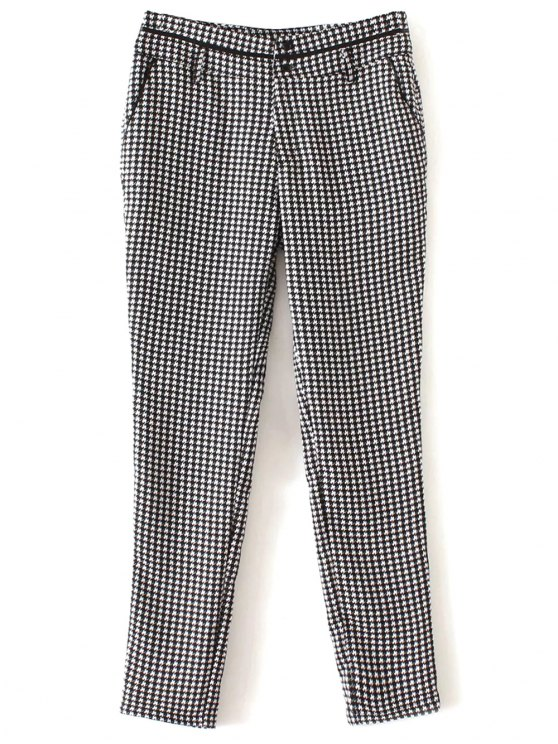 affordable Houndstooth Tapered Trousers - WHITE AND BLACK M