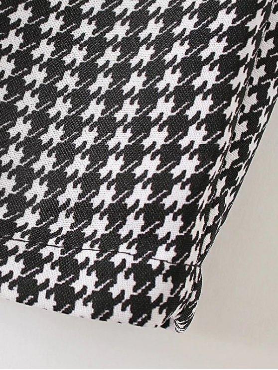 Houndstooth Tapered Trousers - WHITE AND BLACK S Mobile