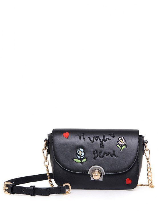 Embroidery Letter Pattern Flowers Crossbody Bag - BLACK  Mobile