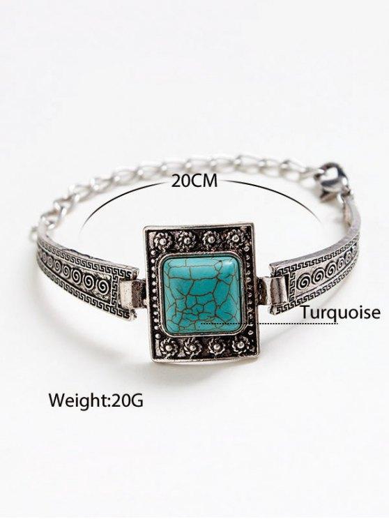 Faux Turquoise Square Boho Bracelet - SILVER  Mobile