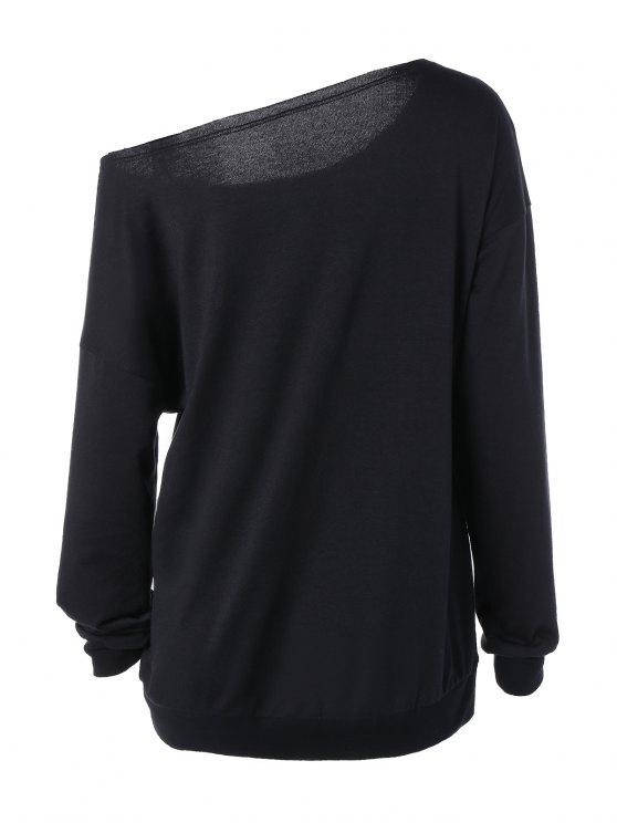 One Shoulder Sweatshirt - BLACK L Mobile