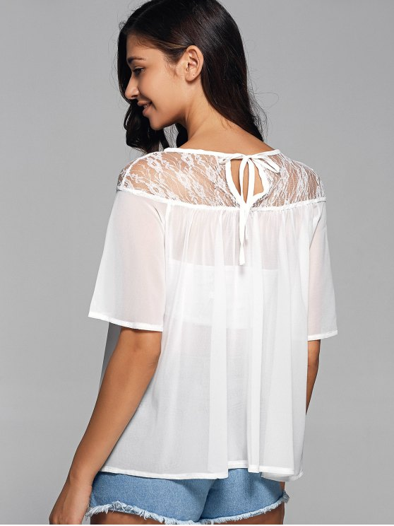Round Neck See-Through Lace Spliced Blouse - WHITE S Mobile