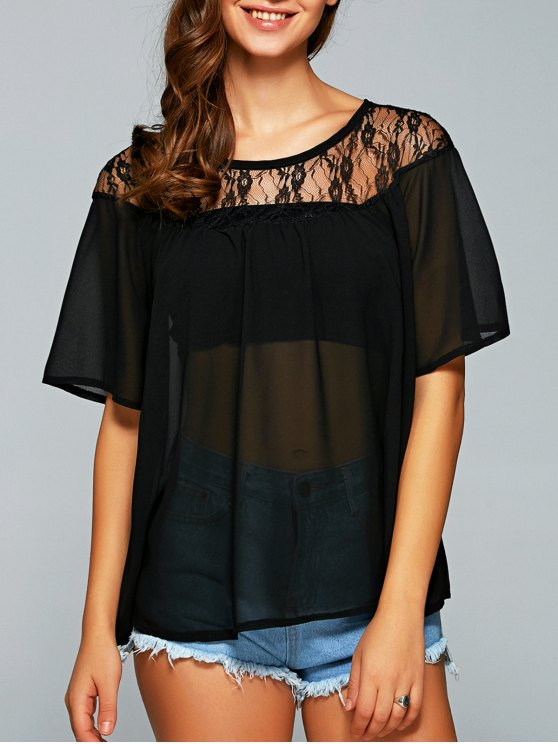 Round Neck See-Through Lace Spliced Blouse - BLACK M Mobile