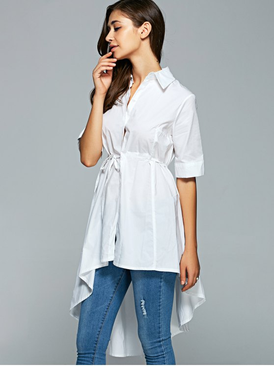Shirt Neck Dovetail Belted Shirt Dress - WHITE ONE SIZE Mobile