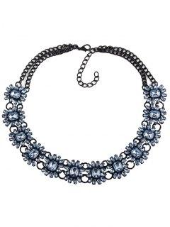 Geometric Faux Gem Choker Necklace - Blue