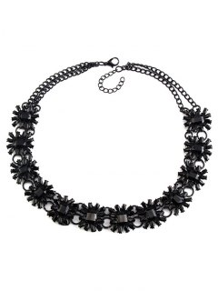Geometric Faux Gem Choker Necklace - Black
