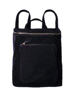 Casual Zips Suede Backpack - Black