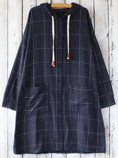 Long Sleeve A Line Hooded Dress - Purplish Blue