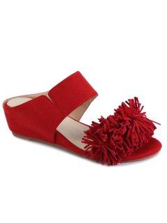 Fringe Wedge Heel Solid Color Slippers - Red 38